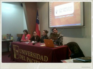 Panel con la participación de Carolina Leiva, Camila Rojas, editora de Quilombo Ediciones; Claudio Aravena de Fundación la Fuente y la ilustradora Isabel Hojas