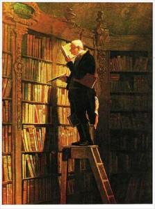 """Carl Spitzweg  pintó """"Der Bücherwurm """"  que se ha traducido como """"El Gusano de Biblioteca"""" y que finalmente se ha aproximado a lo que hoy conocemos como el ratón de biblioteca."""