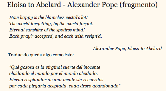 "Extracto del Poema ""Eloisa to Abelard"""