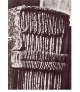 Detalle de un cosido medieval